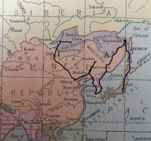 Map of Harrison's Asian travels